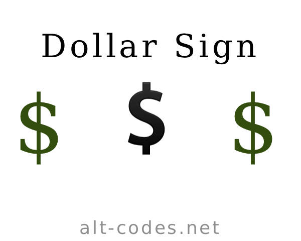 Html Code For Dollar Sign